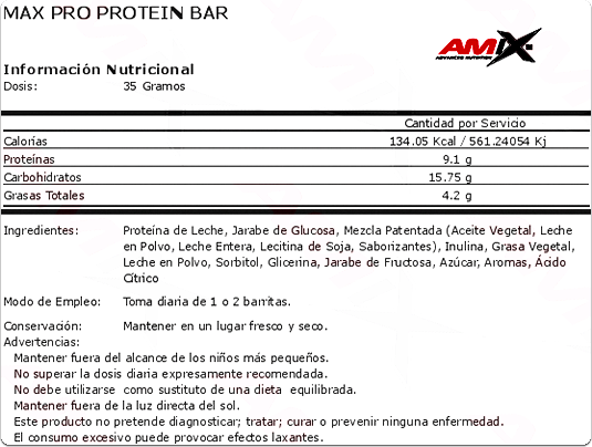 Ficha Técnica Max Pro Protein Bar