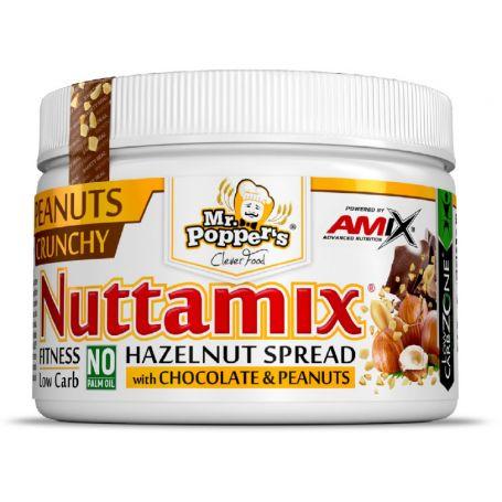 Crema de Chocolate y Avellanas Nuttamix Crunchy Peanuts Mr Poppers 250 gr